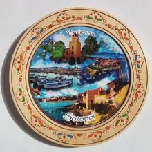 Дървена чиния сувенир с пирография СОЗОПОЛ