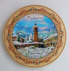 Дървена чиния с църквата в Банско