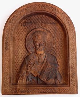 30 лв. Икона с дърворезба на Свети Николай Чудотворец