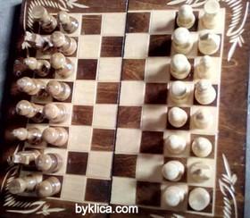 42лв. Комплект Шах Табла с дърворезба КАРЛОВО