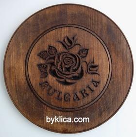 4лв. Дървена чиния с дърворезба на роза 22см