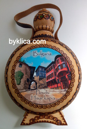 20лв. Дървена бъклица с пирография Стария град - ПЛОВДИВ