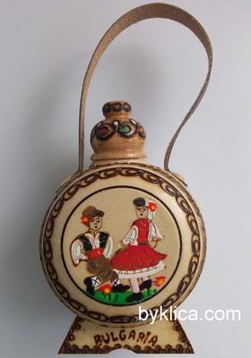 Бъклица сувенир с пирография Фолклорни мотиви 50 мл