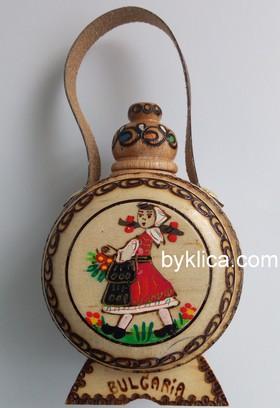 Бъклица сувенир с пирография Момиче в народна носия 50 мл