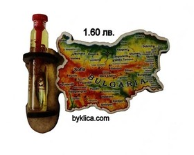 1.60 лв. Магнит за хладилник Карта на България с фиолка