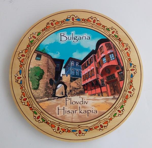 Дървена чиния Пловдив пирография