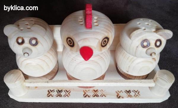 9лв. Сувенир Дървена солница тройка от ОРЕШАК