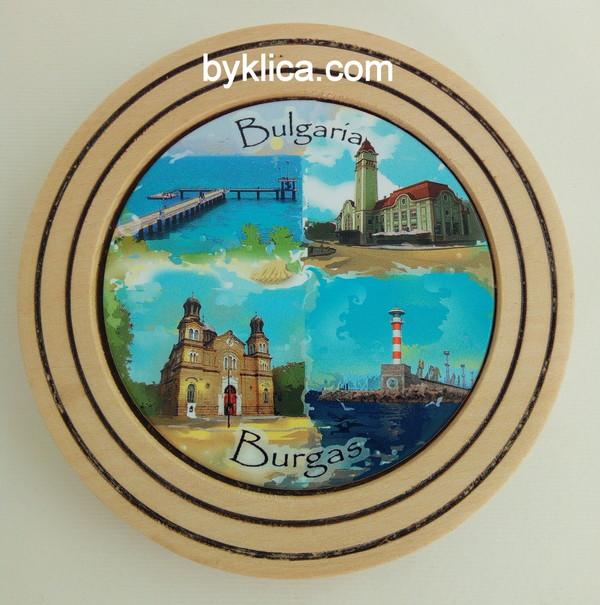 2лв. Дървена чиния сувенир БУРГАС