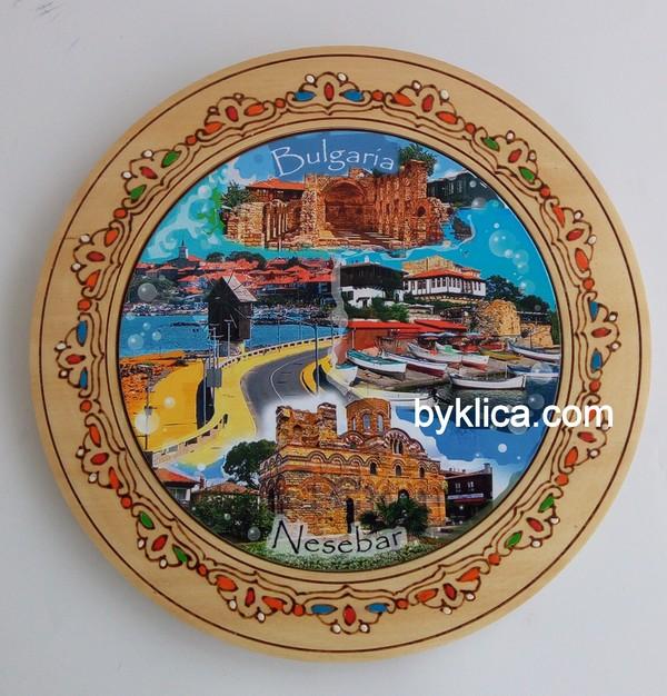 4.60лв Дървена чиния с пирография НЕСЕБЪР