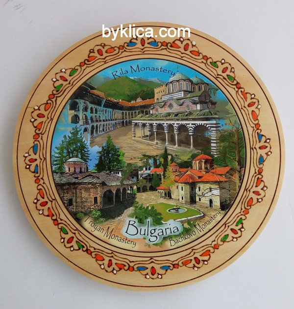 4.60лв Чиния от дърво с пирография МАНАСТИРИ
