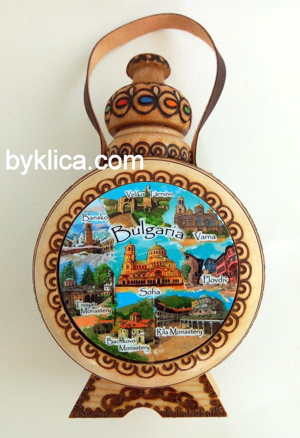 9лв. Бъклица с пирография Стария град - ПЛОВДИВ
