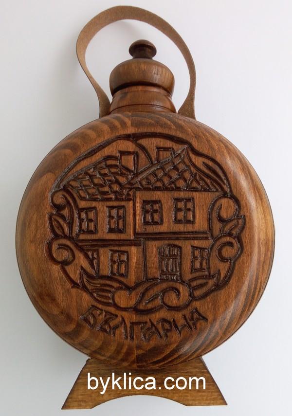 Бъклица с дърворезба на стари къщи 1 литър