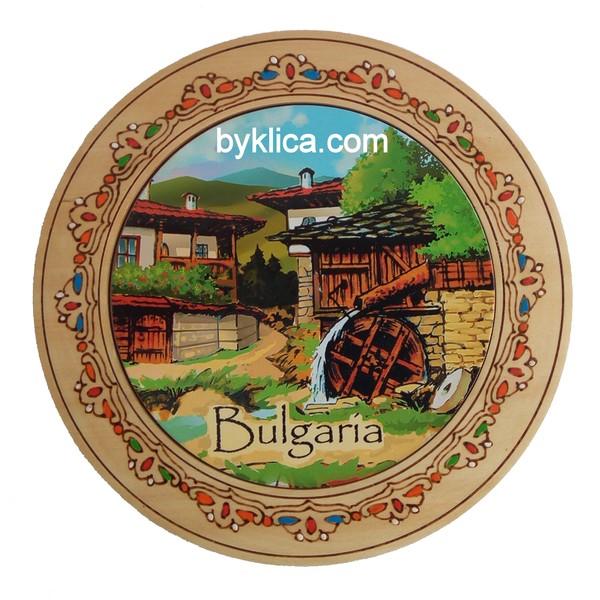 Чиния с пирография Спомен от България 22см