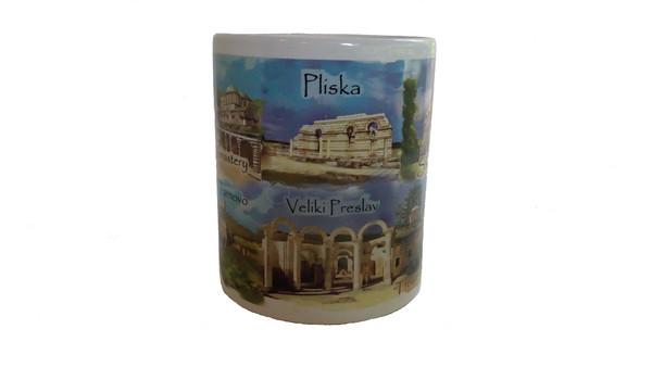 Сувенирна керамична чаша със забележителности от България