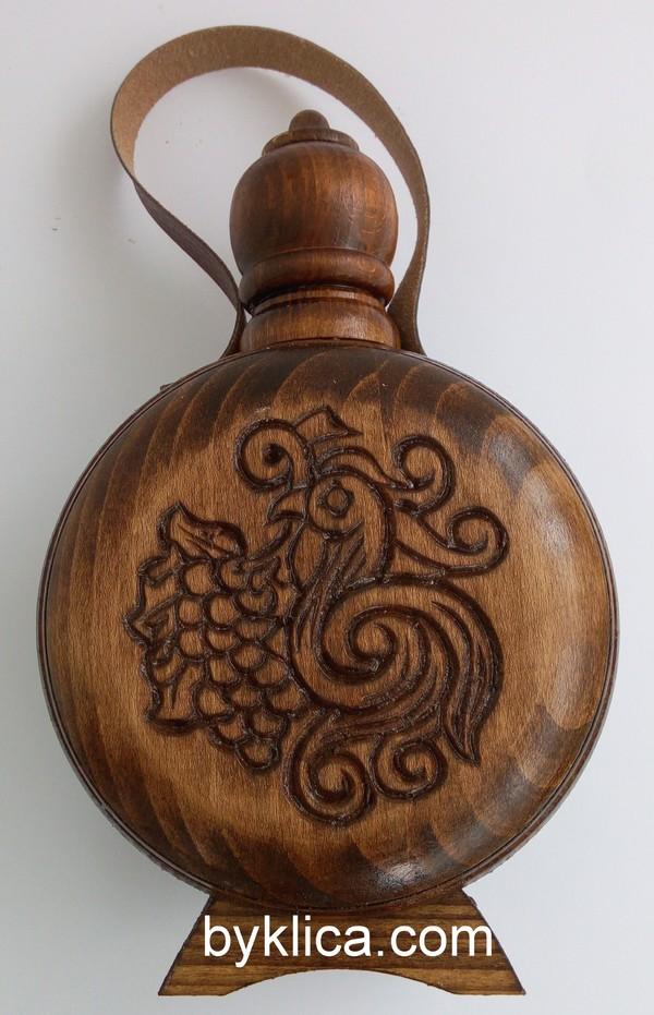Бъклица с дърворезба на гълъб 750мл