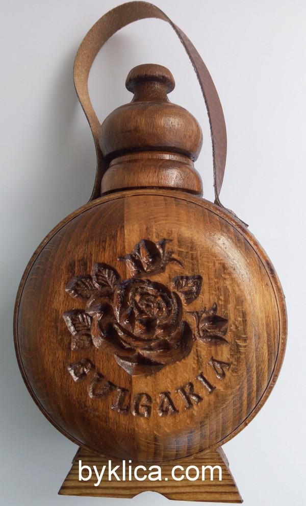 Бъклица с дърворезба на роза и надпис България 200 мл