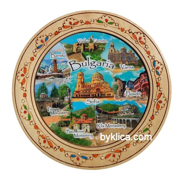Дървена чиния с пирография колаж България 18 см