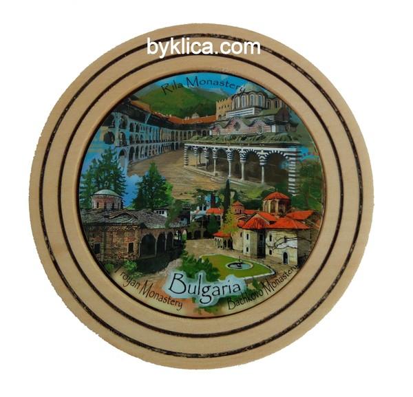 Чиния от дърво сувенир колаж Манастири 10см