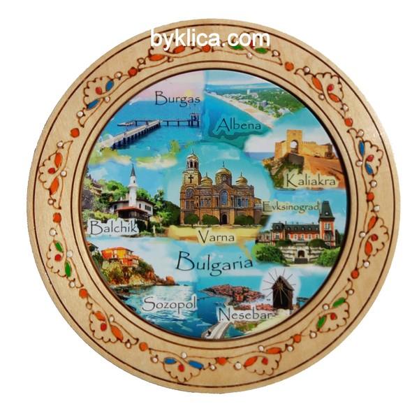 Дървена чиния с пирография колаж Морски градове 18 см