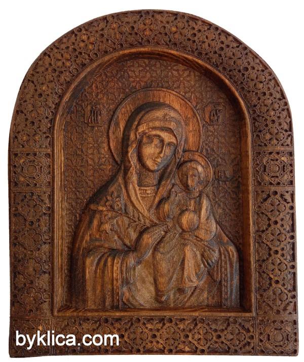 Икона с дърворезба на Дева Мария с Младенеца