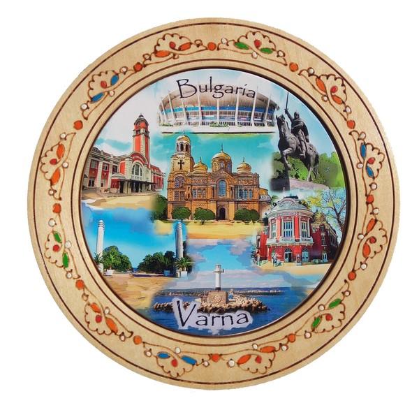 Дървена чиния с пирография Варна 18 см