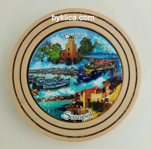 Чиния от дърво сувенир колаж Созопол 10 см