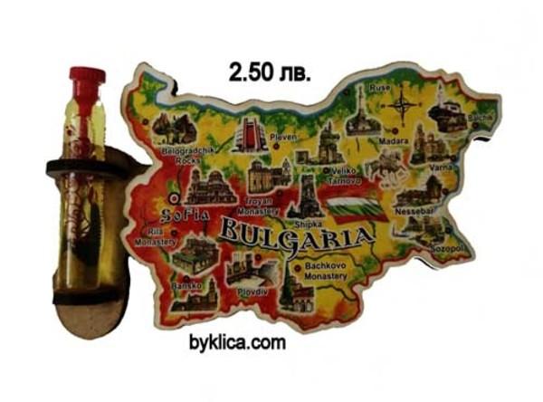 2.50 лв. Магнит за хладилник Карта на България с фиолка