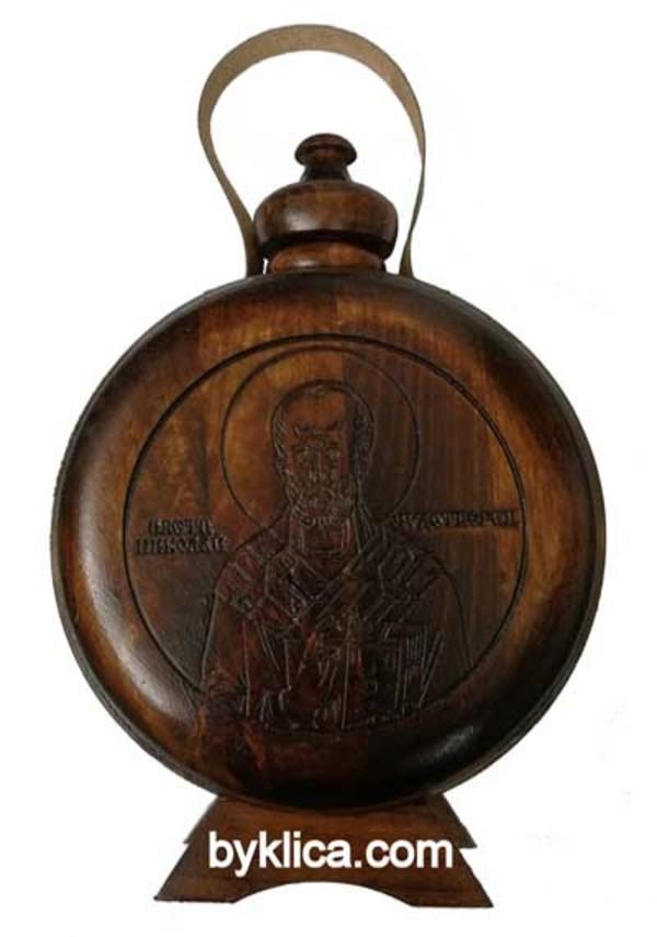 30.00 лв. Бъклица с дърворезба на  Свети Николай Чудотворец
