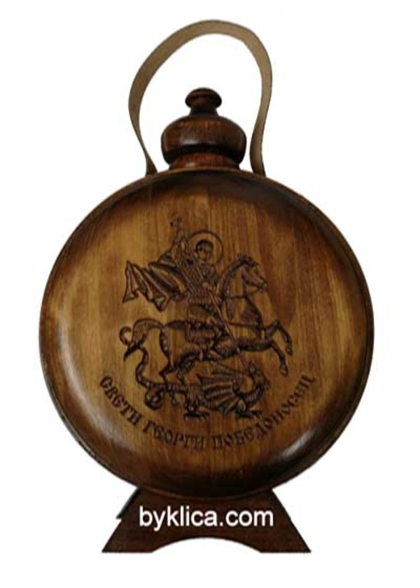 30.00 лв. Бъклица с дърворезба на Св. Георги Победоносец