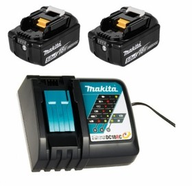 Комплект акумулаторни батерии и зарядно Li-Ion Makita 18.0 V, 5.0 Ah, 2х BL1850B, DC18RD