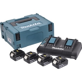 Комплект акумулаторни батерии и зарядно Li-Ion Makita, 18.0 V, 3.0 Ah,4х BL1830, DC18RD