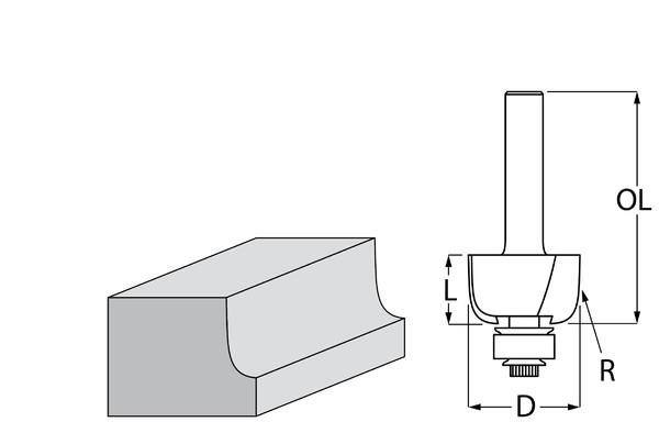 Фрезер за дърво профилен за вдлъбнат заоблен профил, с лагер ф 31.8х14.0 мм, 56 мм, ф 8 мм Makita