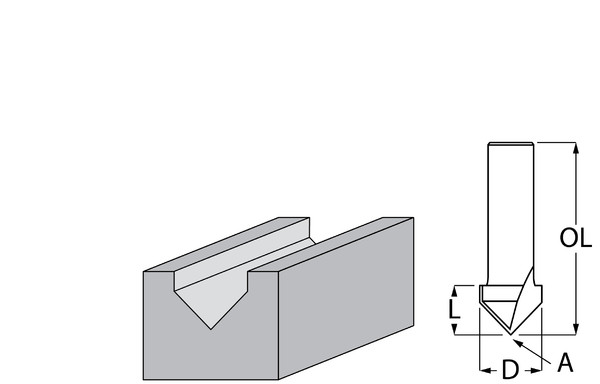Фрезер за дърво канален V-профил 12.7х12.7 мм, 44.7 мм, ф 8 мм, 90° Makita