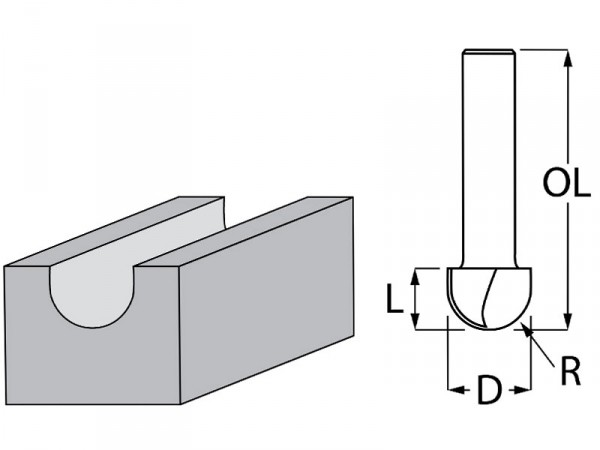 Фрезер за дърво профилен за закръглени фалцове ф 12.7х10 мм, 41.5 мм, ф 8 мм Makita