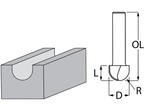 Фрезер за дърво профилен за закръглени фалцове ф 15.8х12.7 мм, 44.5 мм, ф 8 мм Makita
