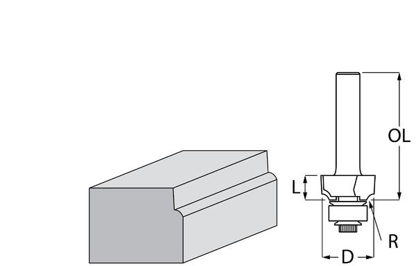 Фрезер за дърво профилен за изпъкнал заоблен профил, с лагер ф 17.3х8 мм, 51 мм, ф 8 мм Makita