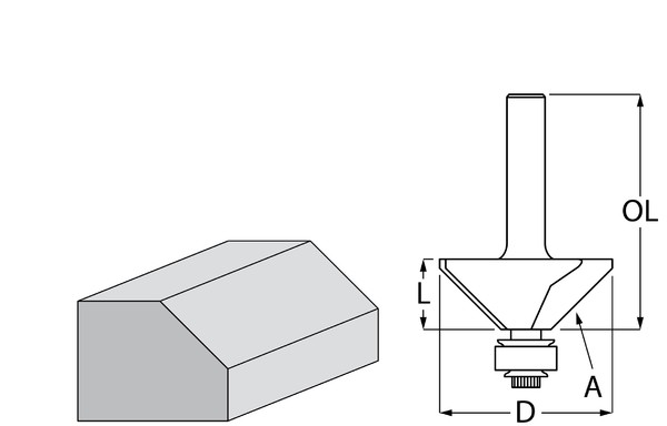 Фрезер за дърво профилен за скосяване, с лагер ф 31.3х13.5 мм, 45°, 55.1 мм, ф 8 мм Makita