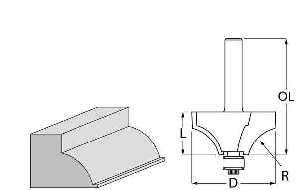 Фрезер за дърво профилен за изпъкнал заоблен профил, с лагер ф 50.8х25.4 мм, 74.5 мм, ф 12 мм Makita