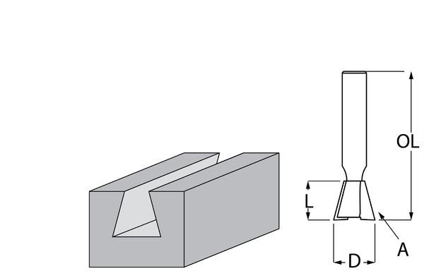 Фрезер за дърво профилен тип лястовича опашка, без лагер ф 12.7х13 мм, 14°, 45 мм, ф 8 мм Makita
