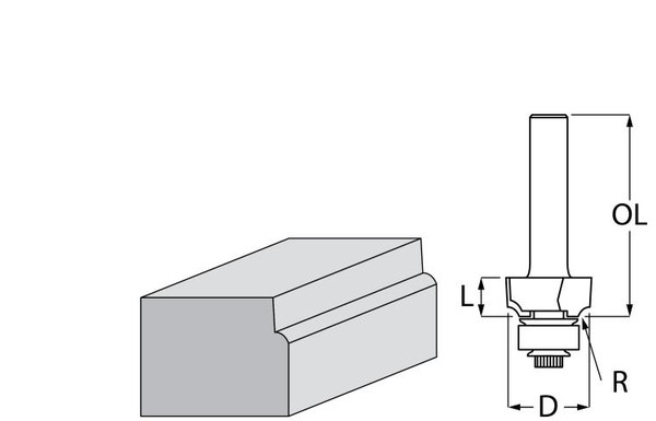 Фрезер за дърво профилен за изпъкнал заоблен профил, с лагер ф 22х10 мм, 40 мм, ф 8 мм Makita