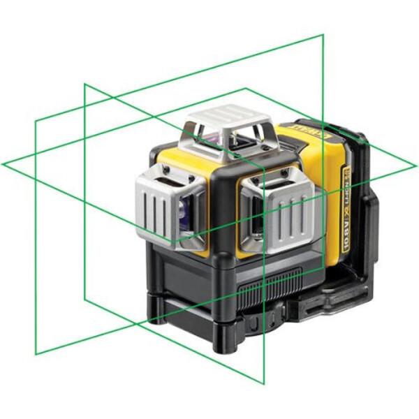 Линеен лазерен нивелир с 3 лъча 30 м, 0.3 мм/м Dewalt DCE089D1G